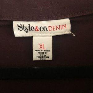 Style & Co Jackets & Coats - Wine color brushed denim jacket NWT